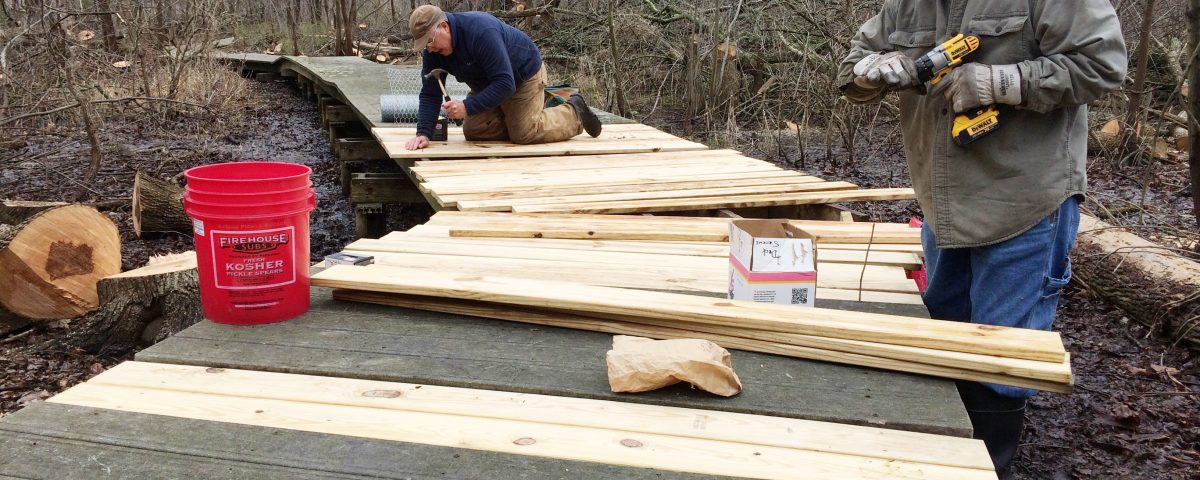 Calamus Swamp: Repairing damaged boardwalk