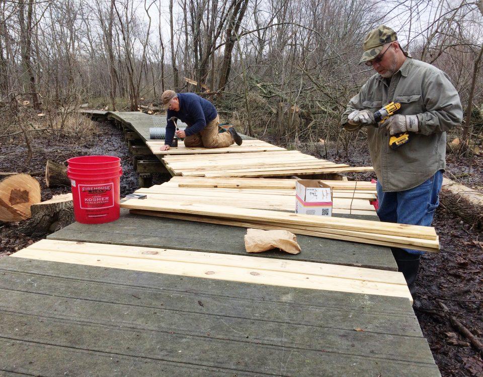 Calamus Swamp: Repairing damaged boardwalk