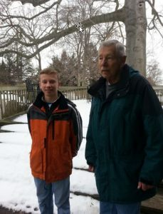 Gus with Bill Brown, nestbox monitoring volunteer