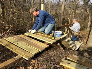 Chuck and Al Blyth Laying the Deck at Calamus 12-18-17 - Photo Tom Sheley