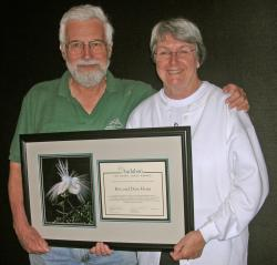 Dave and Roz Horn with their Great Egret Award