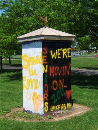 BWHS's Spirit Tower shows a positive message from the Class of 2011.