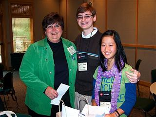 OYBC advisor Darlene Sillick with presenters Jacob Stinnett and Clare Jusdanis